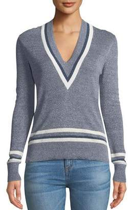Veronica Beard Walton V-Neck Long-Sleeve Melange Sweater