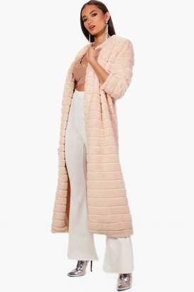 boohoo Lara Panelled Faux Fur Coat