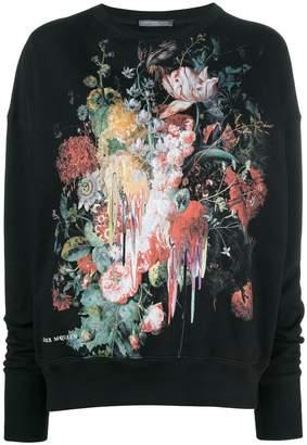 Alexander McQueen floral painting sweatshirt