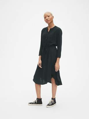 Gap Long Sleeve Tie-Waist Shirtdress in TENCEL