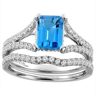 Sabrina Silver 14K White Gold Natural Swiss Topaz Engagement Bridal Ring Set Emerald 8x6 mm, size 9