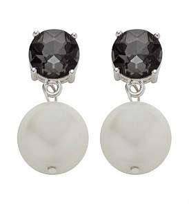 Amorette Greige Crystal Drop With Pearl- Silver