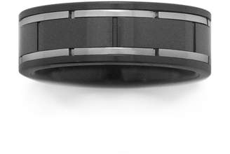 JCPenney FINE JEWELRY Black Ceramic & Brushed Stainless Steel Inlay Band