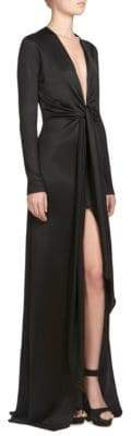 Givenchy Plunging Long-Sleeve Gown