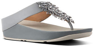 FitFlop Rumba Crystal-Embellished Leather Thong Sandals