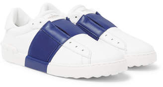 Valentino Open Striped Leather Slip-on Sneakers