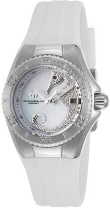 Technomarine Women's Cruise 30mm White Silicone Band Steel Case Quartz MOP Dial Analog Watch TM-115206