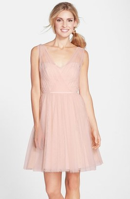 Women's Monique Lhuillier Bridesmaids Tulle Overlay Lace Fit & Flare Dress $298 thestylecure.com