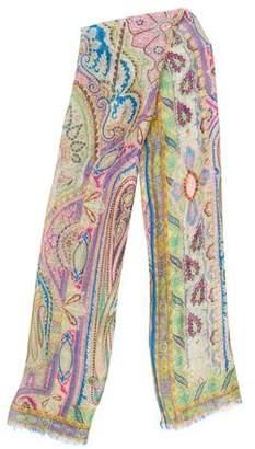 Etro Linen & Silk Paisley Scarf