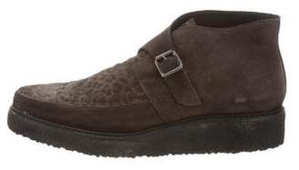 AllSaints Suede Monk Strap Loafers