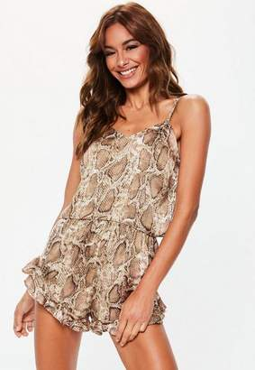 Missguided Brown Snake Print Satin Cami Frill Short Pyjama Set