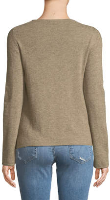 Neiman Marcus Basic Cashmere Crewneck Pullover Sweater, Tan
