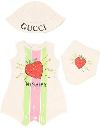 Gucci Cotton Jersey Bodysuit, Hat & Bib