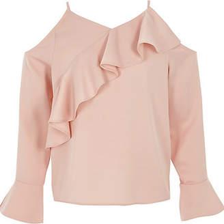 River Island Girls Pink cold shoulder frill top