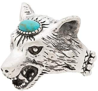 Gucci Turquoise Anger Forest Wolf Head Sterling Silver Ring