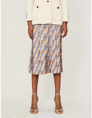 Gucci Giraffe-print pleated silk-satin midi skirt
