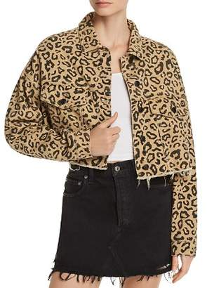 Bloomingdale's Sunset & Spring Sunset + Spring Leopard Print Cropped Denim Jacket - 100% Exclusive