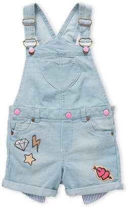 Betsey Johnson Girls 4-6x) Diamond Patch Denim Overalls