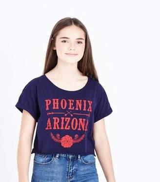 New Look Teens Navy Arizona Crop T-Shirt