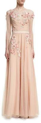 Marchesa Notte Beaded tulle gown with long $1,295 thestylecure.com