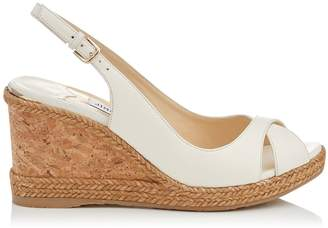 Jimmy Choo AMELY 80 Chalk Nappa Leather Sandals with Braid trim Wedge