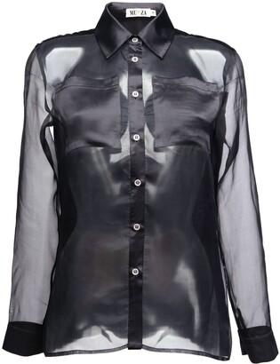 Muza Silk Organza Shirt In Black
