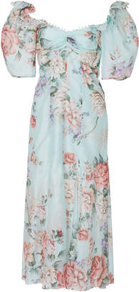 Alice McCall Send Me A Postcard Floral Silk Midi Dress