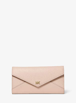 Michael Kors Large Two-Tone Pebbled Leather Envelope Wallet