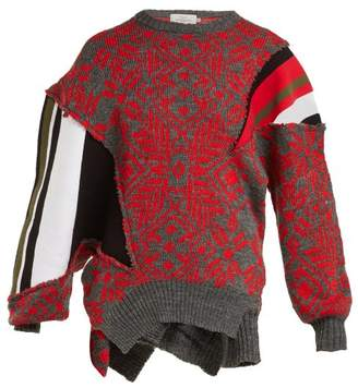 Preen by Thornton Bregazzi Vera Patchwork Wool Blend Sweater - Womens - Black Red