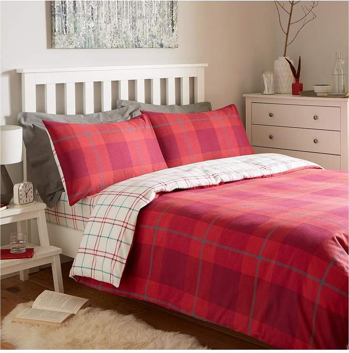 Brushed 100% Cotton Check Duvet Cover Set