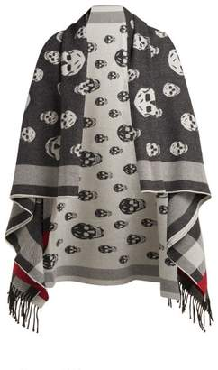 Alexander McQueen Skull Jacquard Wool And Cashmere Blend Scarf - Womens - Black