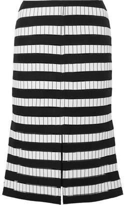 Akris Embroidered Wool-blend Felt Midi Skirt - Black