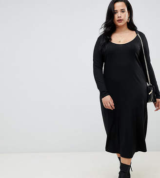 Asos DESIGN Curve scoop neck rib midi dress with asymmetric skirt
