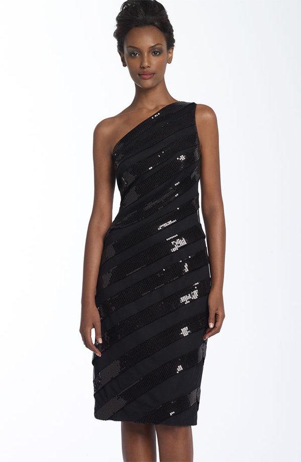 Tadashi Shoji Sequined Stripe Jersey Dress