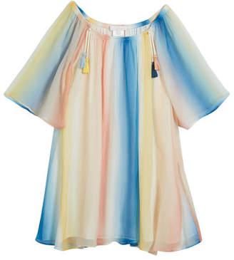 Chloé Mini Me Rainbow Silk Dress, Size 6-10