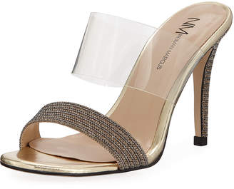 Neiman Marcus Disco Transparent-Strap Sandals