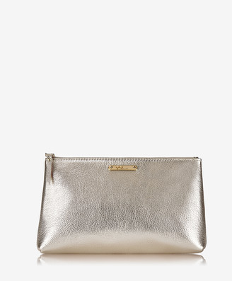 GiGi New York Large Cosmetic Case, White Gold Metallic Goatskin
