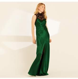 Amanda Wakeley Emerald Crepe Back Satin Lace Long Dress
