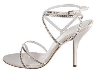 Sergio Rossi Satin Embellished Sandals w/ Tags