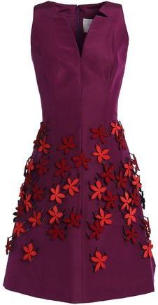 Floral-Appliquéd Silk-Faille Mini Dress