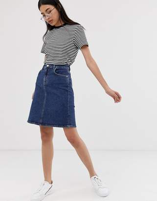 Selected a line stretch denim skirt