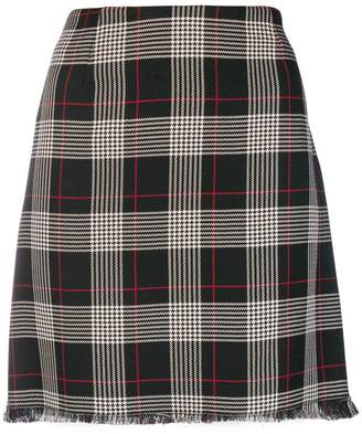 Pinko frayed plaid skirt