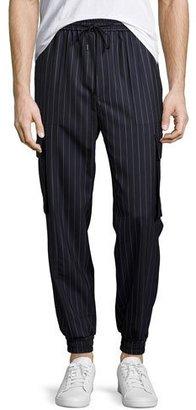 Juun J Pinstripe Drawstring Cargo Jogger Pants, Navy $550 thestylecure.com