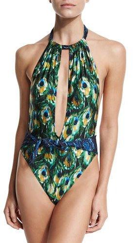 Gottex Pavone Peacock-Print Halter One-Piece Swimsuit, Blue/Green