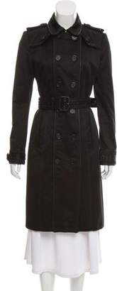 Burberry Leather-Trimmed Trench Coat