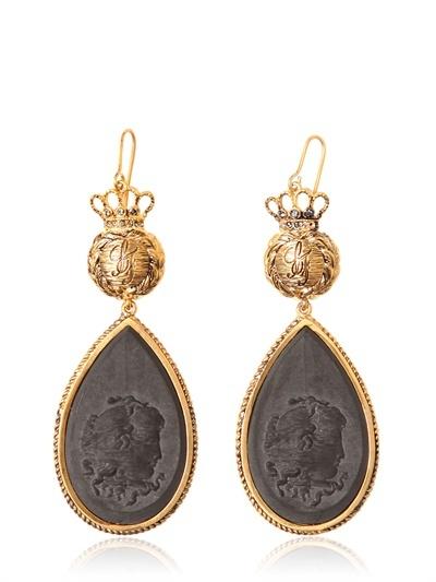 Salvatore Ferragamo Cameo Pendants With Swarovski Earrings