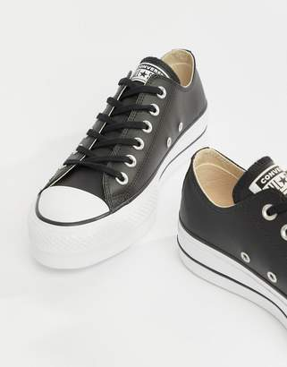 Converse Chuck Taylor All Star leather platform low sneakers in black