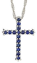 """QVC Sterling 0.60 cttw Sapphire Cross Pendant with18"""" Chain"""
