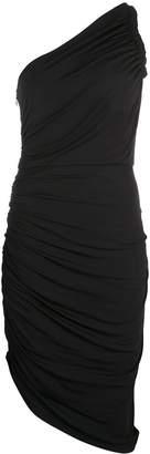 Halston asymmetric gathered dress