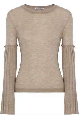 Autumn Cashmere Pleated Metallic Slub Cashmere-Blend Top